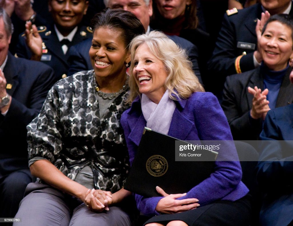 First lady <a gi-track='captionPersonalityLinkClicked' href=/galleries/search?phrase=Michelle+Obama&family=editorial&specificpeople=2528864 ng-click='$event.stopPropagation()'>Michelle Obama</a> and Doctor <a gi-track='captionPersonalityLinkClicked' href=/galleries/search?phrase=Jill+Biden&family=editorial&specificpeople=997040 ng-click='$event.stopPropagation()'>Jill Biden</a>, wife of U.S. Vice President Joe Biden, laugh as a Alma Powell speaks during the ServiceNation launch of 'MISSION