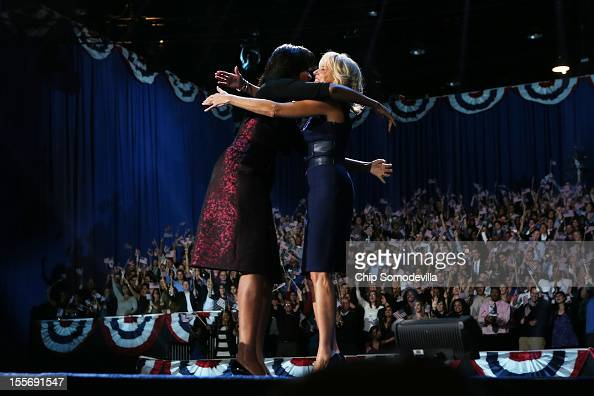 First lady Michelle Obama and Dr Jill Biden embrace after the victory speech by US President Barack Obama on election night at McCormick Place...