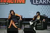 First Lady Michelle Obama and Missy Elliott speak on stage during the SXSW Keynote Michelle Obama during 2016 SXSW Music Film Interactive Festival at...