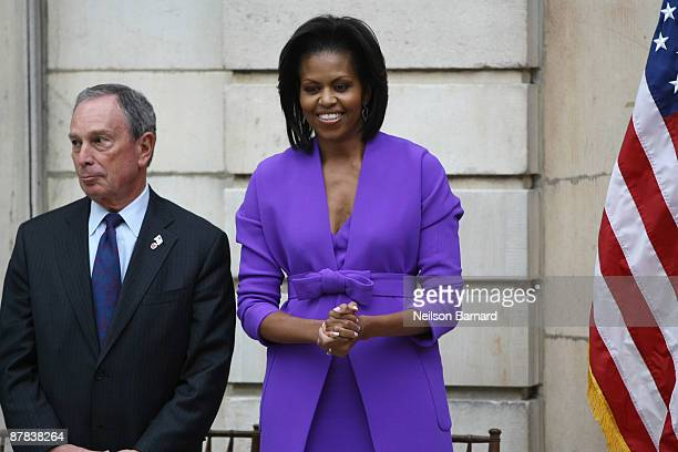 First lady Michelle Obama and New York City Mayor Michael R Bloomberg attend a ribbon cutting ceremony to officially reopen the Charles Engelhard...