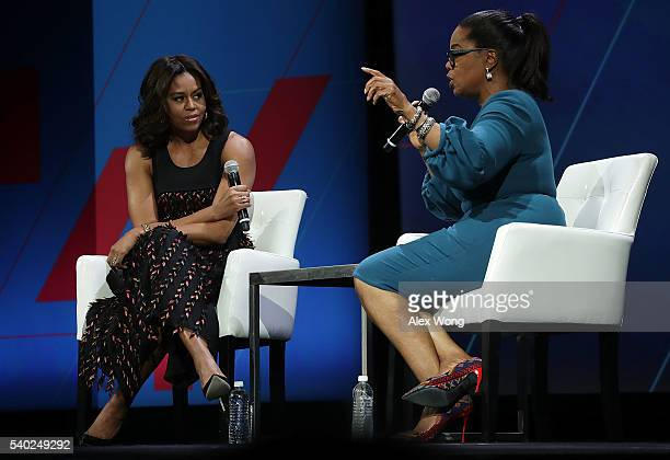 S first lady Michelle Obama and Oprah Winfrey participate in a conversation on 'Trailblazing the Path for the Next Generation of Women' during the...