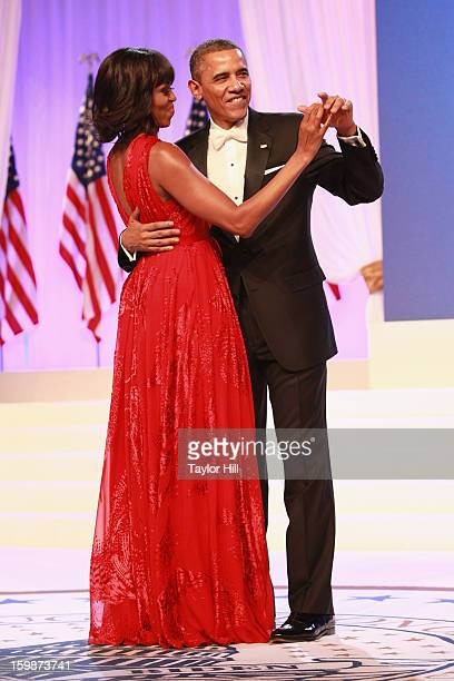First Lady Michelle Obama and President Barack Obama attend the Inaugural Ball on January 21 2013 in Washington United States