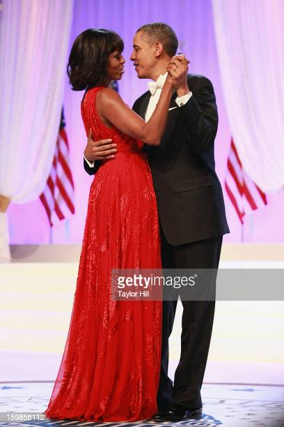 First Lady Michelle Obama and President Barack Obama dance at the Inaugural Ball on January 21 2013 in Washington DC