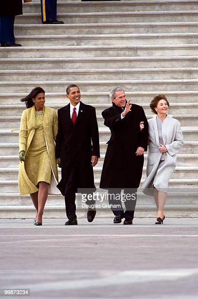 First lady Michelle Obama and President Barack Obama with former President George W Bush and former first lady Laura Bush after the 56th inauguration...