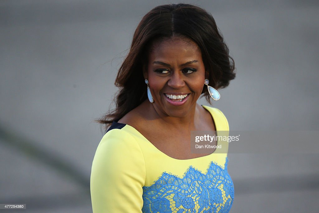 First Lady <a gi-track='captionPersonalityLinkClicked' href=/galleries/search?phrase=Michelle+Obama&family=editorial&specificpeople=2528864 ng-click='$event.stopPropagation()'>Michelle Obama</a> arrives at Stanstead airport for a visit to London on June 15, 2015 in London, England. The First Lady is travelling to London with her daughters, Malia and Sasha and her mother, Mrs. Marian Robinson, to continue a global tour promoting her Let Girls Learn Initiative. During the visit she will meet with students at a girl's school to discuss how the UK and U.S. are working together to expand girl's education around the world.