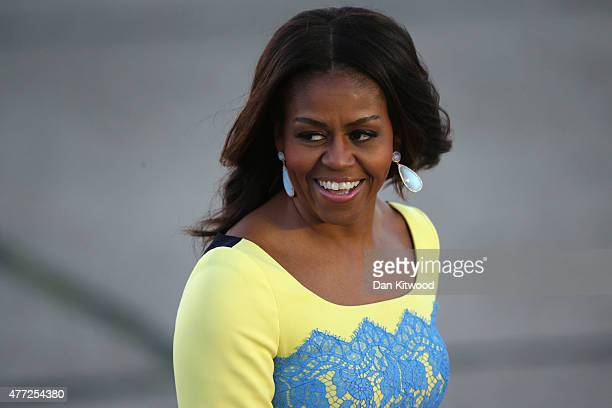 First Lady Michelle Obama arrives at Stanstead airport for a visit to London on June 15 2015 in London England The First Lady is travelling to London...