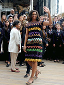 First Lady Michelle Obama arrives at the United States Pavilion at the Milan Expo 2015 on June 18 2015 in Milan Italy After visiting London Michelle...