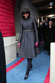 First lady Michelle Obama arrives during the presidential inauguration on the West Front of the US Capitol January 21 2013 in Washington DC Barack...