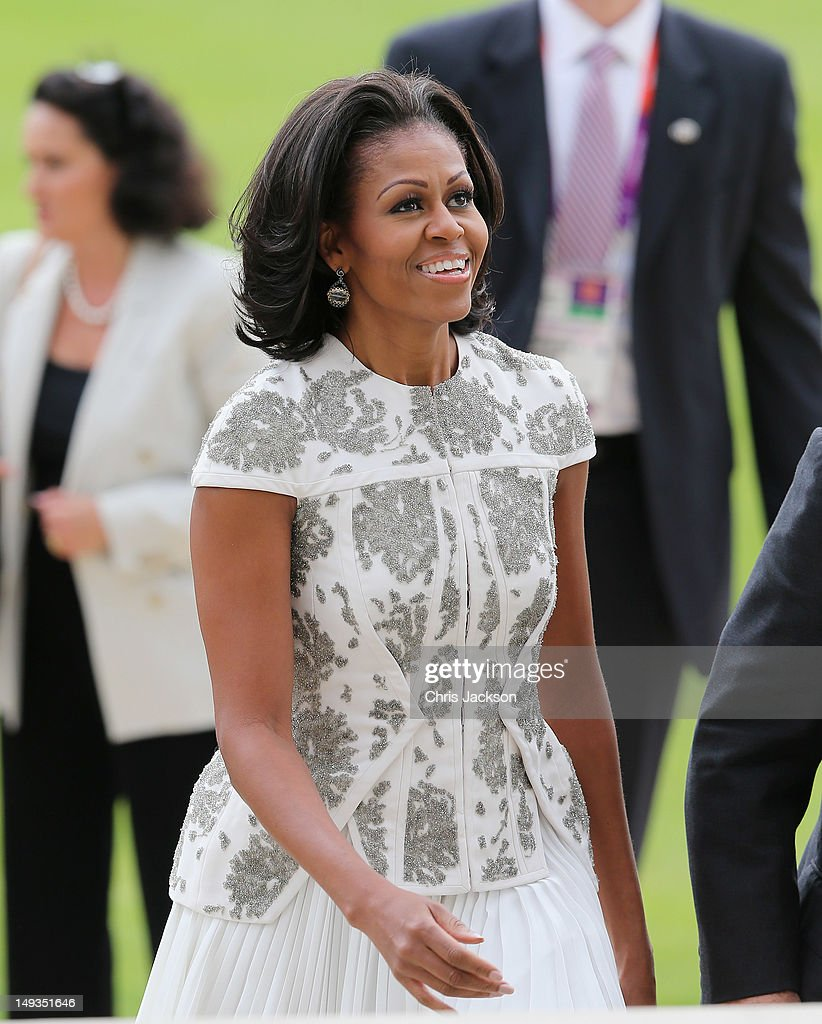 First Lady Michelle Obama arrives for a reception at Buckingham Palace for Heads of State and Government attending the Olympics Opening Ceremony at Buckingham Palace on July 27, 2012 in London, England.