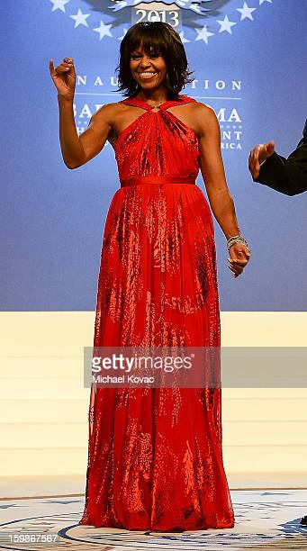 S First lady Michelle Obama arrives for The Inaugural Ball at the Walter E Washington Convention Center on January 21 2013 in Washington United States
