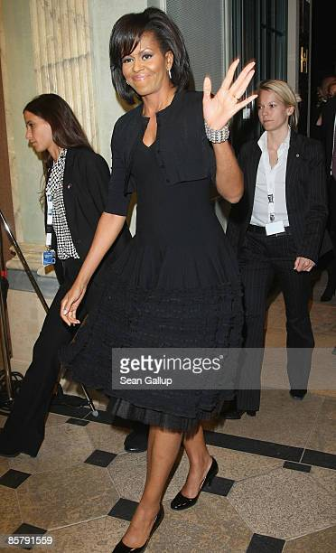 S First Lady Michelle Obama arrives for the spouses' evening at the opening of the NATO summit on April 3 2009 in Baden Baden Germany Heads of state...