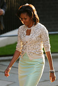 First lady Michelle Obama arrives in Downing Street on April 1 2009 in London Obama is on his first trip to the UK as President and will be attending...
