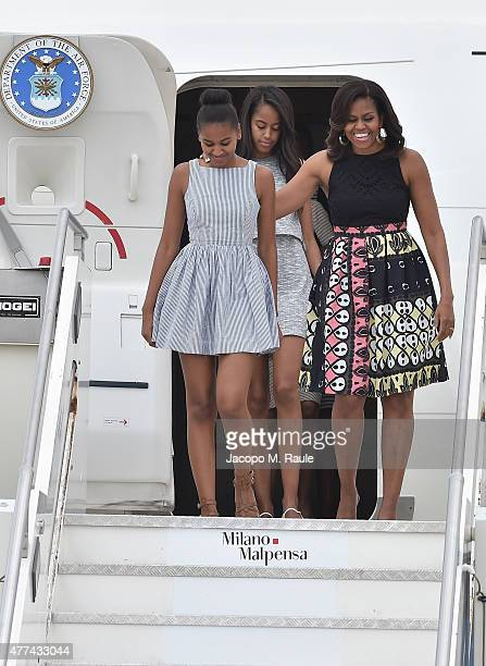 First Lady Michelle Obama arrives with daughters Malia Obama and Sasha Obama at Malpensa Airport on June 17 2015 in Milan Italy