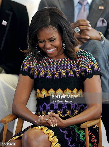 First Lady Michelle Obama attends a question time with 60 American college students at United States Pavilion at the Milan Expo 2015 on June 18 2015...