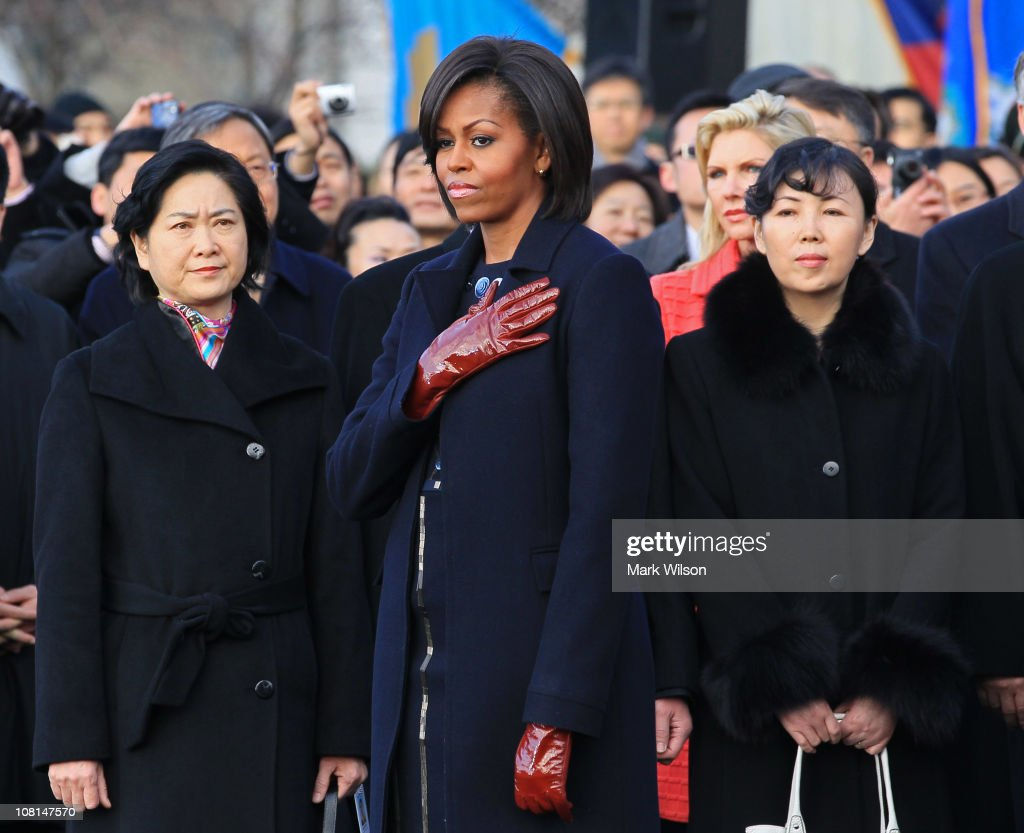 U.S. first lady <a gi-track='captionPersonalityLinkClicked' href=/galleries/search?phrase=Michelle+Obama&family=editorial&specificpeople=2528864 ng-click='$event.stopPropagation()'>Michelle Obama</a> attends a State arrival ceremony on the South Lawn of the White House January 19, 2011 in Washington, DC. Obama and Hu are scheduled to meet in the Oval Office later in the day, hold a joint press conference and attend a State dinner.