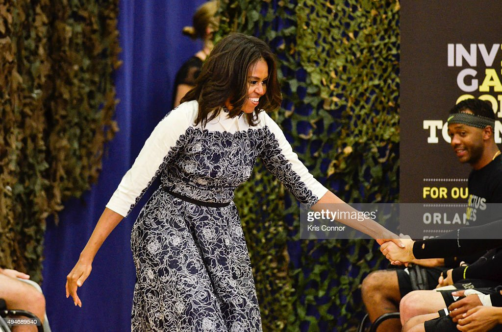 First Lady Michelle Obama attends the Joining Forces Invictus Games 2016 Event at the Wells Fields House on October 28, 2015 in Fort Belvoir, Va.