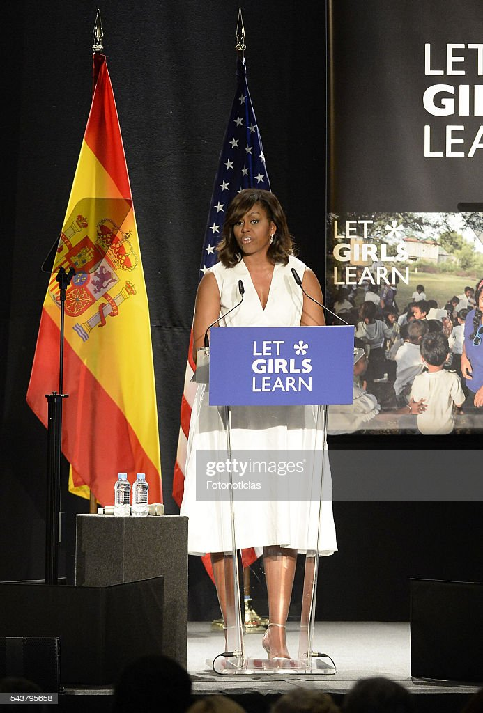 US First Lady Michelle Obama attends the 'Let Girls Learn' conference at Matadero de Madrid on June 30, 2016 in Madrid, Spain.