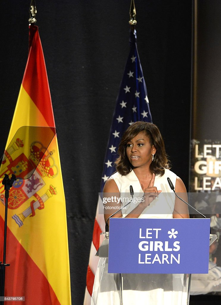 US First Lady <a gi-track='captionPersonalityLinkClicked' href=/galleries/search?phrase=Michelle+Obama&family=editorial&specificpeople=2528864 ng-click='$event.stopPropagation()'>Michelle Obama</a> attends the 'Let Girls Learn' conference at Matadero de Madrid on June 30, 2016 in Madrid, Spain.
