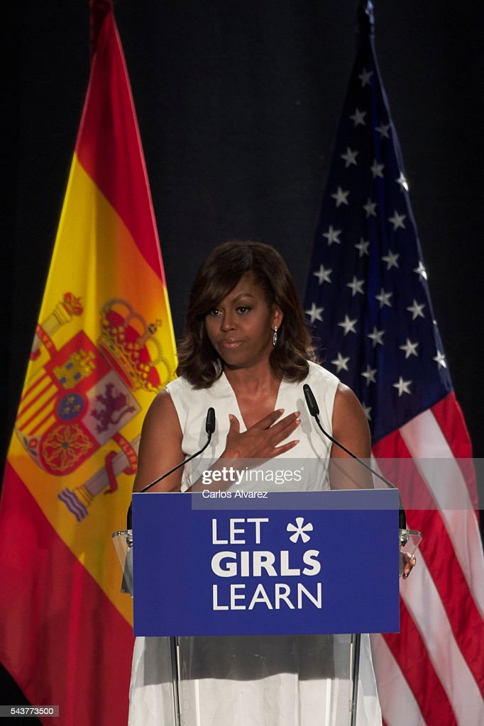 US First Lady <a gi-track='captionPersonalityLinkClicked' href=/galleries/search?phrase=Michelle+Obama&family=editorial&specificpeople=2528864 ng-click='$event.stopPropagation()'>Michelle Obama</a> attends the presentation of 'Let Girls Learn' at Matadero cultural center on June 30, 2016 in Madrid, Spain. In this initiative <a gi-track='captionPersonalityLinkClicked' href=/galleries/search?phrase=Michelle+Obama&family=editorial&specificpeople=2528864 ng-click='$event.stopPropagation()'>Michelle Obama</a> shares the stories of girls she has met in her prior travels and highlights new commitments to support 'Let Girls Learn'. Mrs. Obama encourage the audience to value their own educational opportunities, continue to strive for progress for girls and young women in their country, and take action to help the more than 62 million girls around the world who are out of school.