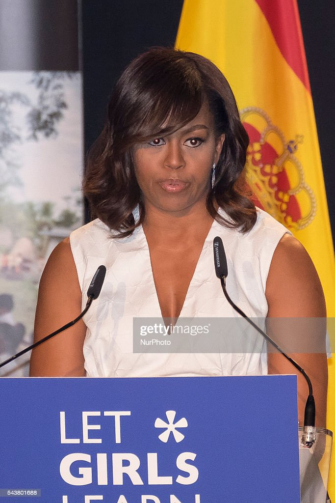 US First Lady <a gi-track='captionPersonalityLinkClicked' href=/galleries/search?phrase=Michelle+Obama&family=editorial&specificpeople=2528864 ng-click='$event.stopPropagation()'>Michelle Obama</a> attends the presentation of 'Let Girls Learn' at Matadero cultural center on June 30, 2016 in Madrid, Spain. Oscar Gonzalez/NurPhoto