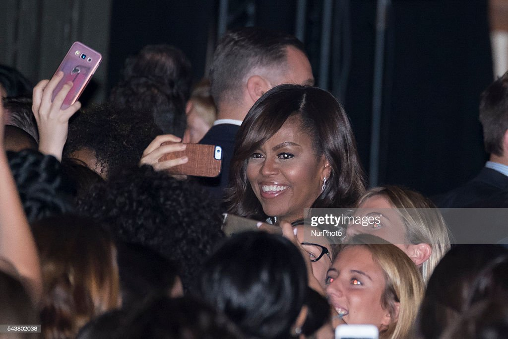 US First Lady Michelle Obama attends the presentation of 'Let Girls Learn' at Matadero cultural center on June 30, 2016 in Madrid, Spain. Oscar Gonzalez/NurPhoto
