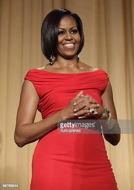 US First Lady Michelle Obama attends the White House Correspondents Association Dinner in Washington DC May 1 2010 AFP PHOTO/YURI GRIPAS