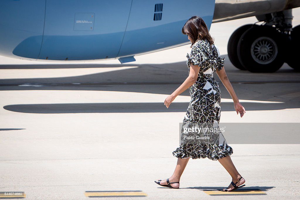 First Lady Michelle Obama boards an official plane prior to her departure from Torrejon Air Force Base on July 1, 2016. in Madrid, Spain. The First Lady delivered a speech on Let Girls Learn to girls and young women, sharing the stories of girls she has met during her travels and highlighting new commitments to support Let Girls Learn. Mrs. Obama encouraged the audience to value their own educational opportunities, continue to strive for progress for girls and young women in their country, and take action to help the more than 62 million girls around the world who are out of school.