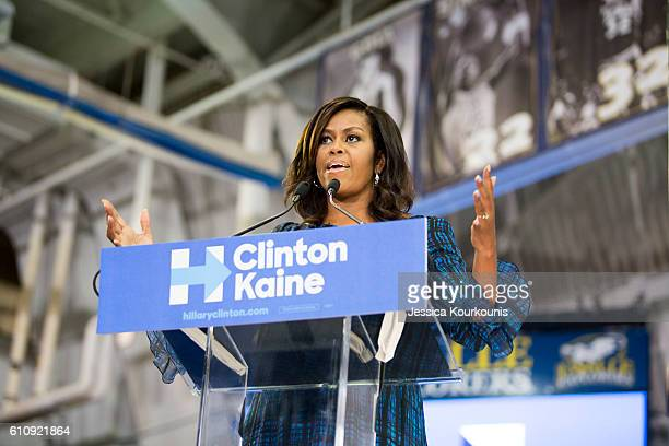 US first lady Michelle Obama campaigns for Democratic presidential nominee Hillary Clinton at Lasalle University on September 28 2016 in Philadelphia...