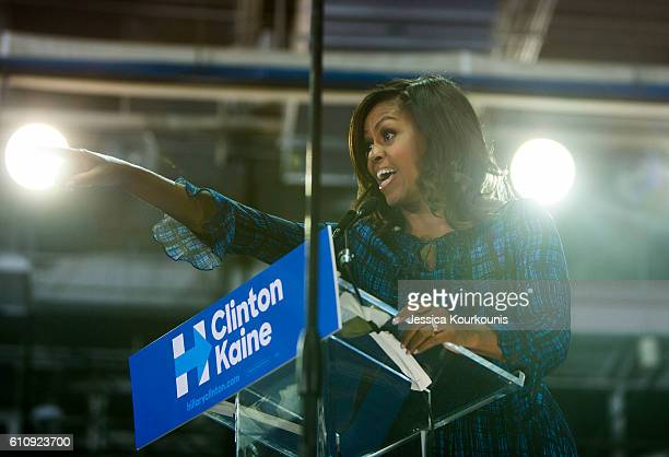 S first lady Michelle Obama campaigns for democratic presidential nominee Hillary Clinton at Lasalle University on September 28 2016 in Philadelphia...