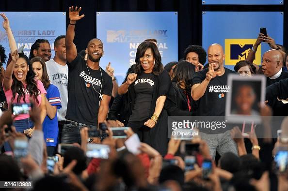 First Lady Michelle Obama dances onstage with La La Anthony Bailee Madison LZ Granderson AJ Calloway Jay Pharoah Sasheer Zamata Common and Rev Run...