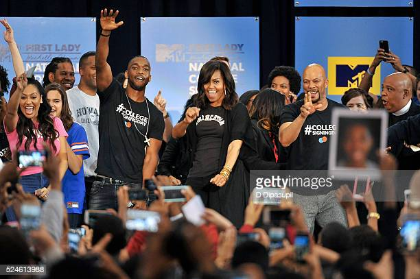 First Lady Michelle Obama dances onstage with La La Anthony Bailee Madison LZ Granderson AJ Calloway Jay Pharoah Sasheer Zamata Common and Rev Run...