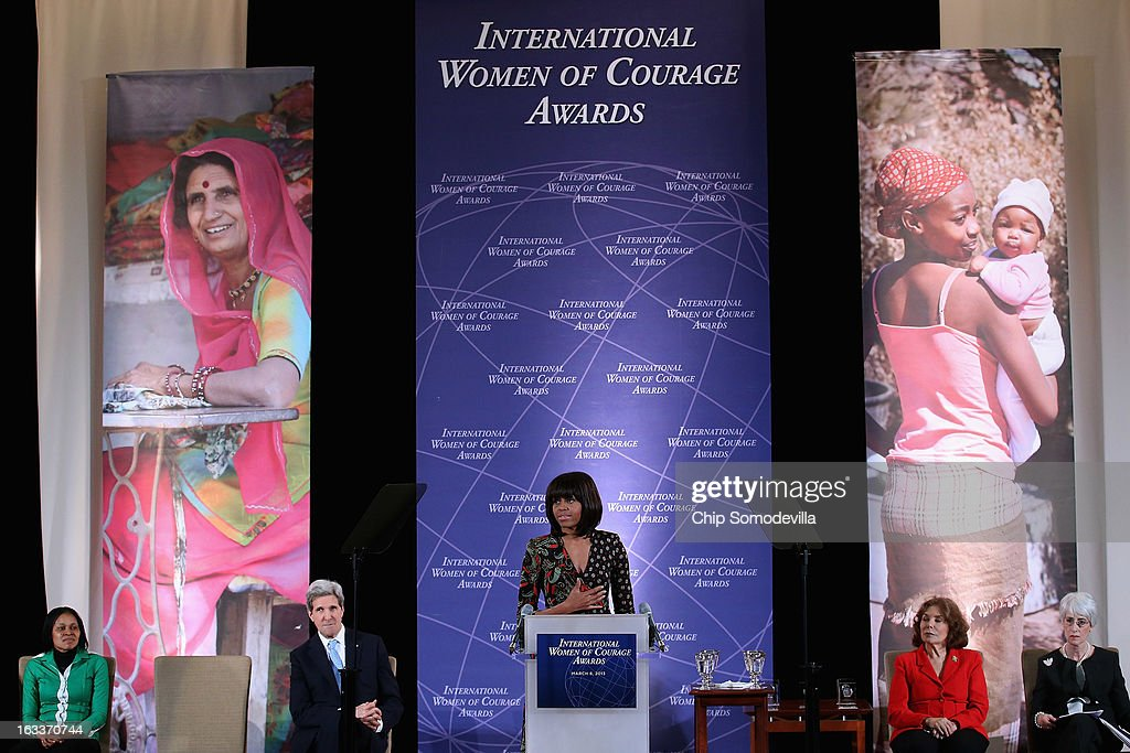 U.S. first lady Michelle Obama delivers remarks at the International Women of Courage Awards Ceremony at the State Department March 8, 2013 in Washington, DC. In celebration of the 102nd International Women's Day, the State Department honored nine women from around the world with the International Women of Courage Award, including the 23-year-old Indian woman known only as 'Nirbhaya,' who died from injuries she received after being gang raped by six men last December in Delhi.