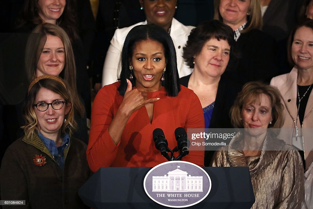U.S. first lady Michelle Obama delivers remarks during a ceremony honoring the 2017 School Counselor of the Year in the East Room of the White House January 6, 2017 in Washington, DC. These were the last public remarks by the first lady during her husband Barack Obama's presidency.