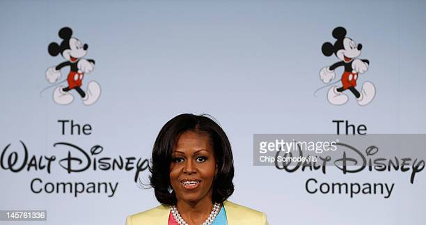 S first lady Michelle Obama delivers remarks during an event introducing The Walt Disney Company's 'Magic of Healthy Living' program at the Newseum...