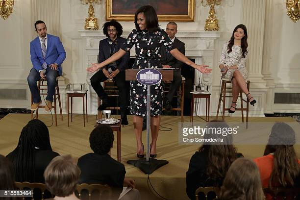 S first lady Michelle Obama delivers remarks while welcoming the Broadway cast of HAMILTON including LinManuel Miranda Daveed Diggs Christopher...