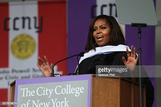First lady Michelle Obama delivers the commencement speech after being presented with an honorary doctorate of humane letters at City College on June...