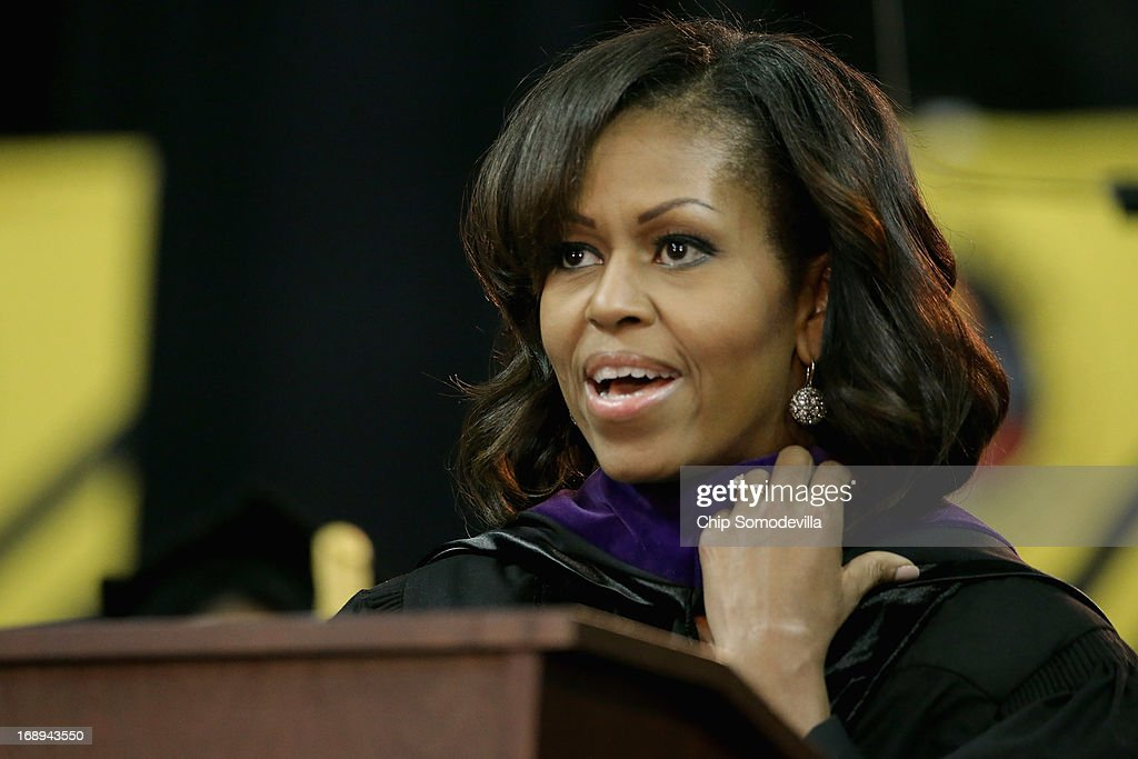 First lady <a gi-track='captionPersonalityLinkClicked' href=/galleries/search?phrase=Michelle+Obama&family=editorial&specificpeople=2528864 ng-click='$event.stopPropagation()'>Michelle Obama</a> delivers the commencement speech during the Bowie State University graduation ceremony at the Comcast Center on the campus of the University of Maryland May 17, 2013 in College Park, Maryland. Obama received and Honorary Doctor of Laws degree before addressing the 600 graduates of Maryland's oldest historically black university and one of the ten oldest in the country.
