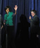 US First Lady Michelle Obama departs after delivering remarks durinig a visit to the Department of Homeland Security April 14 2009 in Washington DC...