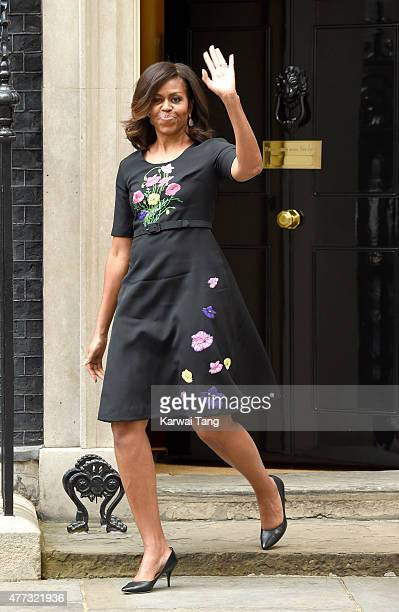First Lady Michelle Obama departs after her visit of 10 Downing Street on June 16 2015 in London England