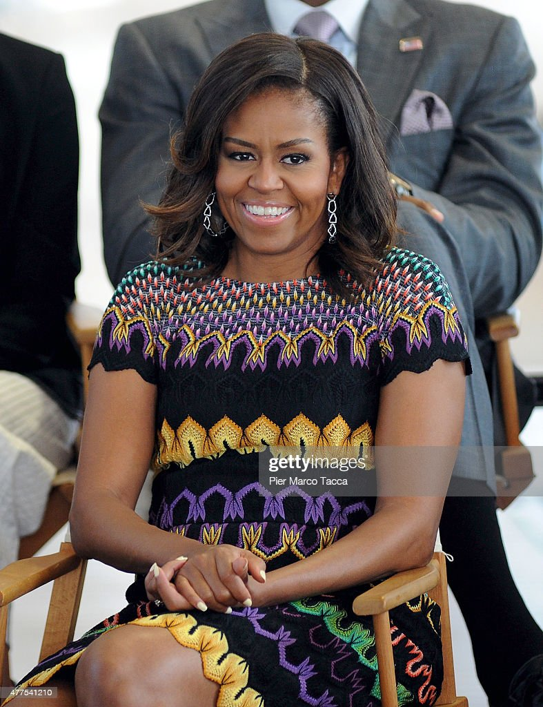 US First Lady <a gi-track='captionPersonalityLinkClicked' href=/galleries/search?phrase=Michelle+Obama&family=editorial&specificpeople=2528864 ng-click='$event.stopPropagation()'>Michelle Obama</a> during question time with 60 American college students at the United States Pavilion at the Milan Expo 2015 on June 18, 2015 in Milan, Italy.