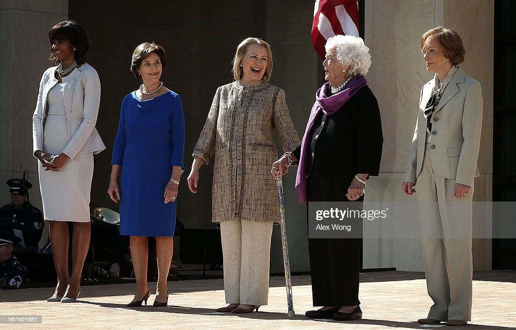 First lady Michelle Obama former first lady Laura Bush former first lady Hillary Clinton former first lady Barbara Bush and former first lady...