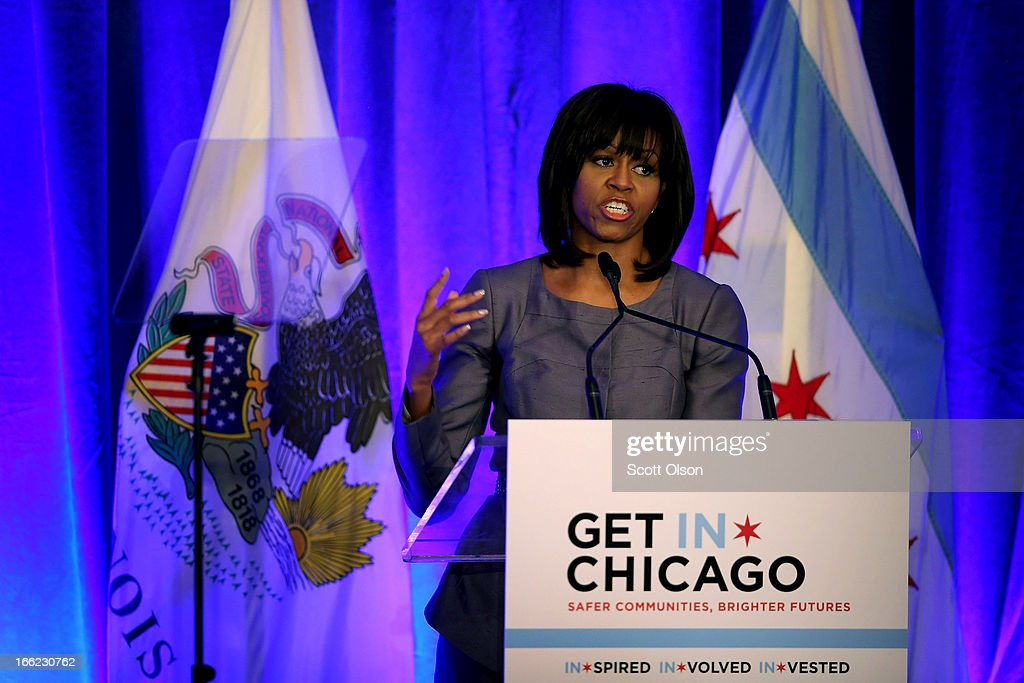 First lady Michelle Obama get emotional as she speaks to guests about the murder of 15-year-old Hadiya Pendleton during a speech about combating youth violence at a luncheon April 10, 2013 in Chicago, Illinois. According to published reports Chicago has had 79 murders in 2013. Twenty-seven of the victims have been under 21-years-old, the most recent victim was fourteen-year-old Michael Orozco who died April 7, from two gunshot wounds to his chest. A 17 and a 19-year-old are in custody for Orozco's murder.