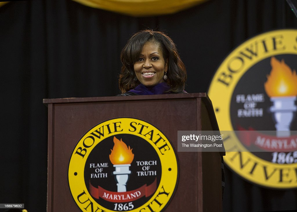 First Lady Michelle Obama gives the 2013 Spring Commencement speech to students at Bowie State University held at the University of Maryland's Comcast Center in College Park, Maryland, on Friday, May 17, 2013. Mrs. Obama received an Honorary Doctorate of Laws degree presented by Dr. Weldon Jackson, Provost and Vice President of Academic Affairs.