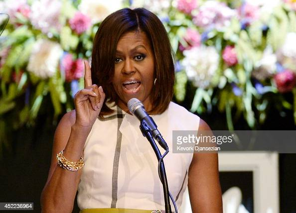 S first lady Michelle Obama gives the keynote speech during Grammy Museum's Jane Ortner Education Award luncheon honoring Southern Californiabased...