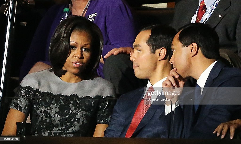 First lady <a gi-track='captionPersonalityLinkClicked' href=/galleries/search?phrase=Michelle+Obama&family=editorial&specificpeople=2528864 ng-click='$event.stopPropagation()'>Michelle Obama</a> greets San Antonio Mayor Julian Castro (C) and his brother Joaquin Castro during day two of the Democratic National Convention at Time Warner Cable Arena on September 5, 2012 in Charlotte, North Carolina. The DNC that will run through September 7, will nominate U.S. President Barack Obama as the Democratic presidential candidate.