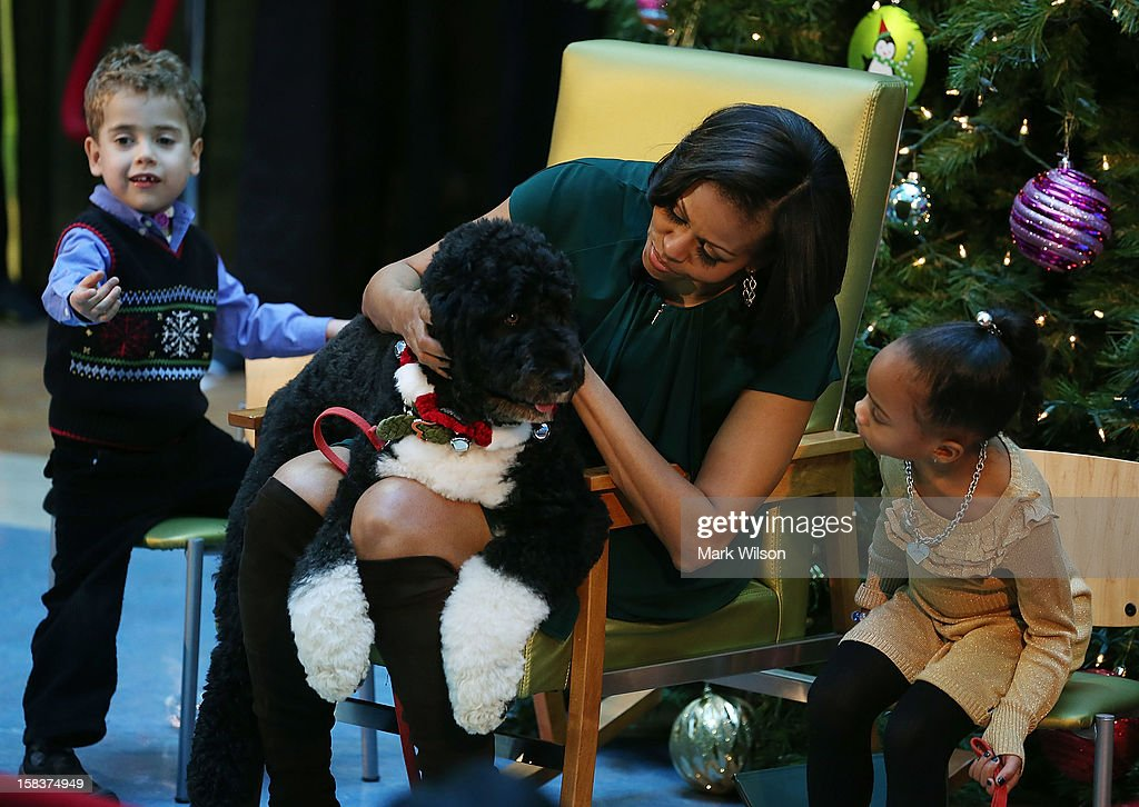 First Lady <a gi-track='captionPersonalityLinkClicked' href=/galleries/search?phrase=Michelle+Obama&family=editorial&specificpeople=2528864 ng-click='$event.stopPropagation()'>Michelle Obama</a> holds her dog Bo while 5-year-old AJ Murray (L), and 5-year-old Jordyn Akyoko sit nearby at Children's National Medical Center on December 14, 2012 in Washington, DC. The first lady toured the hospital before greeting 200 patients and hospital staff.