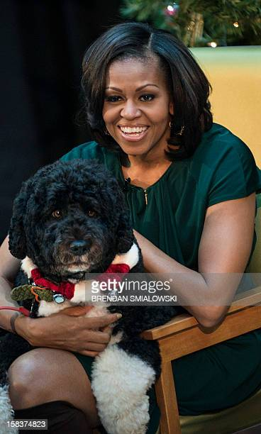 US first lady Michelle Obama holds the first family's dog Bo before reading at Children's National Medical Center December 14 2012 in Washington DC...