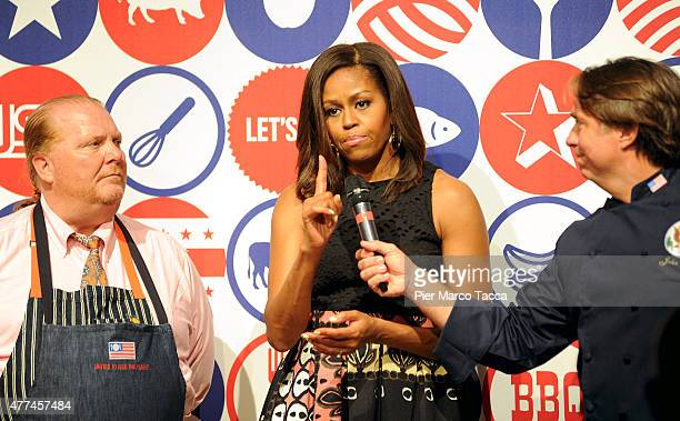 S First Lady Michelle Obama hosts a cooking demonstration for local students at the James Beard American Restaurant on June 17 2015 in Milan Italy...