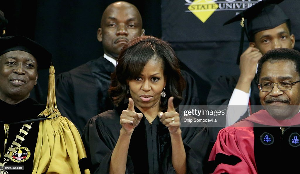 First lady <a gi-track='captionPersonalityLinkClicked' href=/galleries/search?phrase=Michelle+Obama&family=editorial&specificpeople=2528864 ng-click='$event.stopPropagation()'>Michelle Obama</a> (C) joins Bowie State University President Mickey Burnim (L) and Provost Weldon Jackson (R) on stage for the university's graduation ceremony at the Comcast Center on the campus of the University of Maryland May 17, 2013 in College Park, Maryland. Obama received and Honorary Doctor of Laws degree before addressing the 600 graduates of Maryland's oldest historically black university and one of the ten oldest in the country.