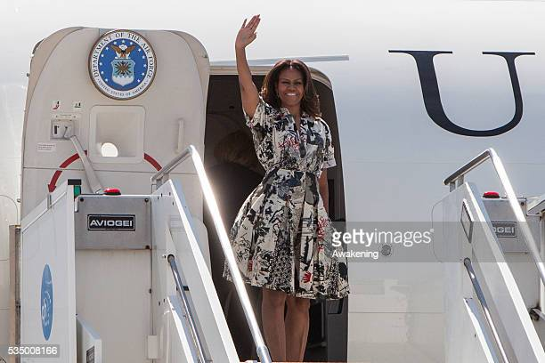 First Lady Michelle Obama leaves Italy from marco Polo Airport in Venice